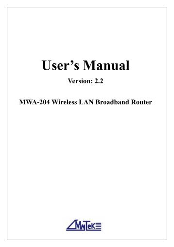 MWA-204 User's Manual v2.0 - MyTek Communication