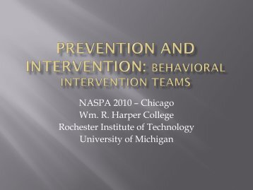 Prevention and Intervention: Behavioral Intervention teams