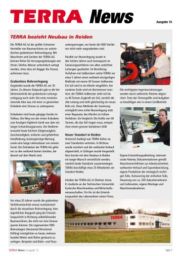 News Ausgabe 15 TERRA bezieht Neubau in Reiden