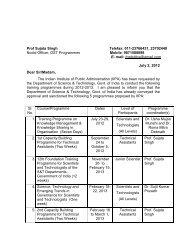 DST Training Calendar Year 2012-13 - Indian Institute of Public ...