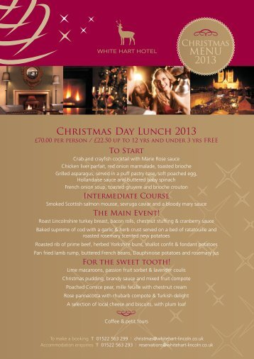 New 2013 Christmas Menu - White Hart Hotel