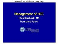 Management of HCC - Department of Surgery at SUNY Downstate ...