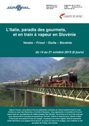 L'Italie, paradis des gourmets, et en train à vapeur en ... - SERVRail