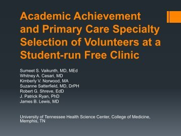 Academic Achievement and Primary Care Specialty Selection of ...