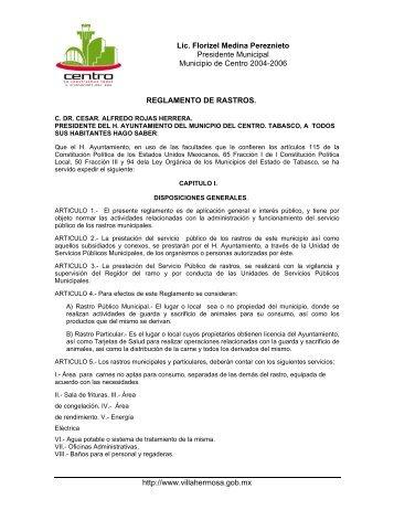 Reglamento de Rastros - H. Ayuntamiento de Centro
