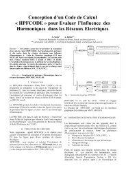 HPFCODE » pour Evaluer l'Influence des Harmoniques dans