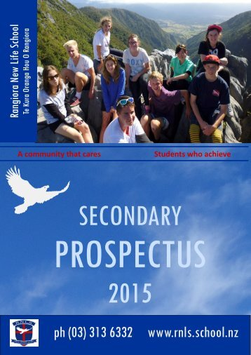 Secondary Prospectus - Rangiora New Life School, Rangiora, New ...