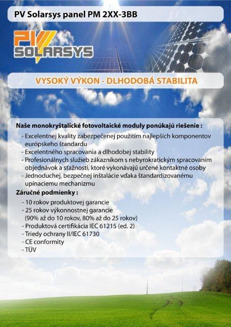 PV Solarsys panel PM 2XX-3BB DLHoDoBÁ STBI