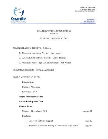 2012 0110 Agenda - Granite School District