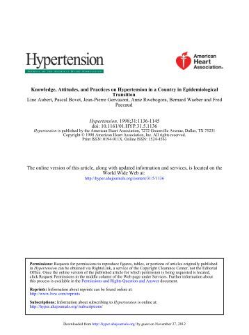 Knowledge, Attitudes, and Practices on Hypertension in a Country in ...