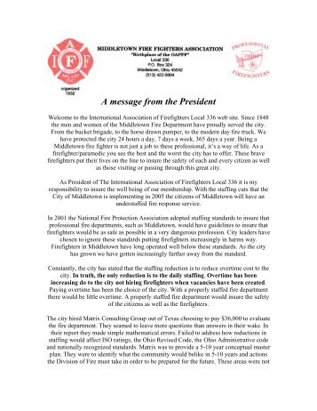 A message from the President - IAFF Local 336 Birthplace of the ...