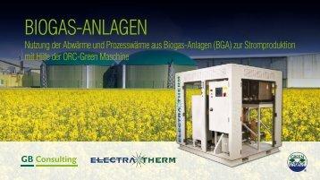 nutzung der abwärme und Prozesswärme aus Biogas-anlagen (Bga ...