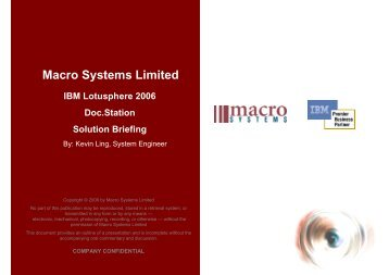 Lotusphere 2006 Doc.Station Presentation by Macro Systems ... - IBM