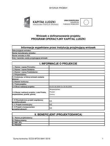 Wniosek o dofinansowanie projektu PROGRAM ... - wup rzeszow.pl