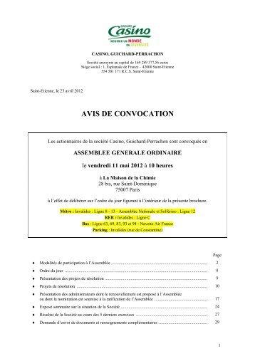 AVIS DE CONVOCATION - Groupe Casino