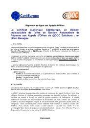Le certificat numérique C@rteurope, un élément ... - ADOC Solutions