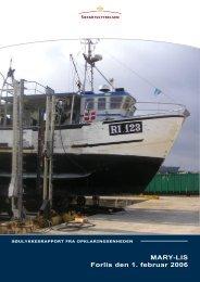 MARY-LIS Forlis den 1. februar 2006 - Søfartsstyrelsen