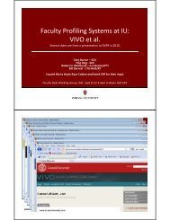 Faculty Profiling Systems at IU - Cyberinfrastructure for Network ...