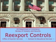 Reexport Controls - Bureau of Industry and Security - Department of ...