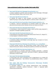 Lista wyróżnionych osób i firm z tytułem Fleet Leader ... - MotoFocus