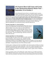 AYC Eastern Shore Fall Cruise and Cruise to the Chestertown ...