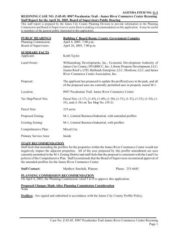 REZONING CASE NO. Z-05-05. 8907 Pocahontas Trail - James ...