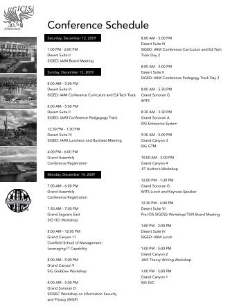 Conference Schedule - Artificial Intelligence Laboratory - University ...