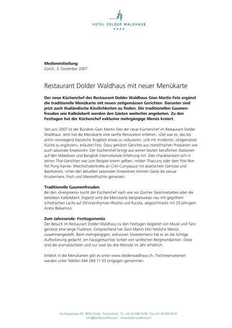 Restaurant Dolder Waldhaus Mit Neuer Menukarte The Dolder Grand