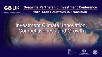 Investment Climate, Innovation, Competitiveness and Growth