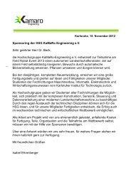 Sponsoring der KaMaRo Engineerin e.V. - Anschreiben