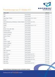 Preisänderungen per 21. Oktober 2011