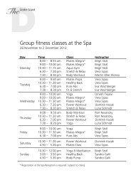 Fitness from 26 November - The Dolder Grand