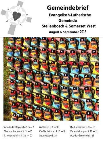 Gemeindebrief 2013 August / September - lutheranstellenbosch