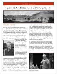 Fall 2009 Newsletter - Center for Furniture Craftsmanship
