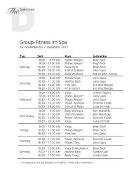 Fitness ab 26. November - The Dolder Grand
