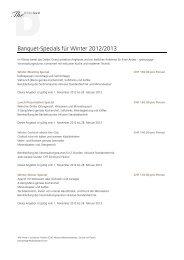 Banquet-Specials für Winter 2012/2013 - The Dolder Grand