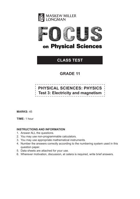 CLASS TEST GRADE 11 PHYSICAL SCIENCES PHYSICS Test 3