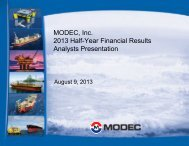 MODEC, Inc. 2013 Half-Year Financial Results Analysts Presentation