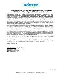 Jobsite Checklist and Pre-Installation Verification - Koster