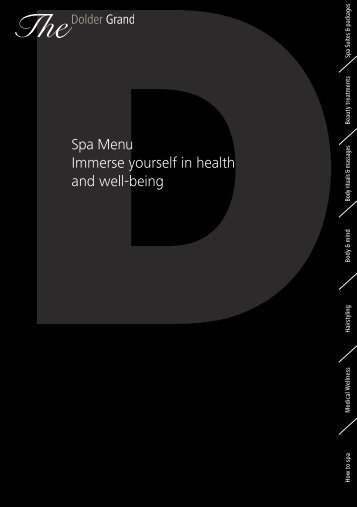 Spa Menu Immerse yourself in health and well ... - The Dolder Grand