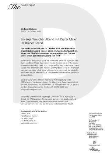 Ein argentinischer Abend mit Dieter Meier im ... - The Dolder Grand