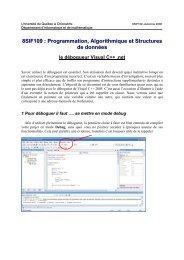 8SIF109 : Programmation, Algorithmique et Structures de ... - UQAC
