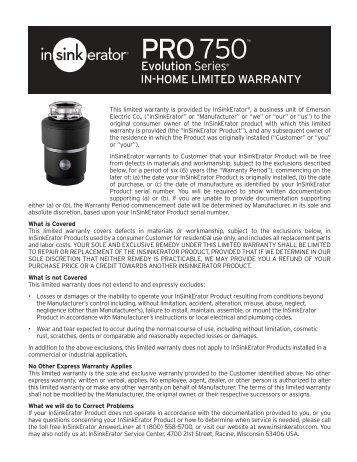 Evolution PRO 750 Warranty - InSinkErator