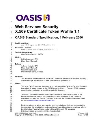 Web Services Security X.509 Certificate Token Profile 1.1
