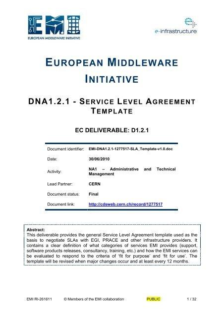 Dna1 2 1 Service Level Agreement Template Cern Document