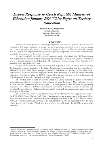 Expert Response to Czech Ministry of Education White Paper ... - ISEA