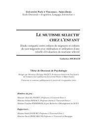 LE MUTISME SELECTIF CHEZ L'ENFANT - E-Corpus