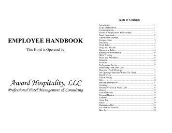 employee handbook - Hotel Management Company, Award Hospitality