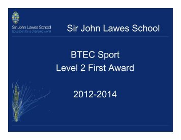 Sir John Lawes School BTEC Sport Level 2 First Award 2012-2014
