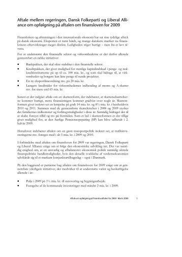 Opfølgning, Finanslov 2009 - Dansk Folkeparti